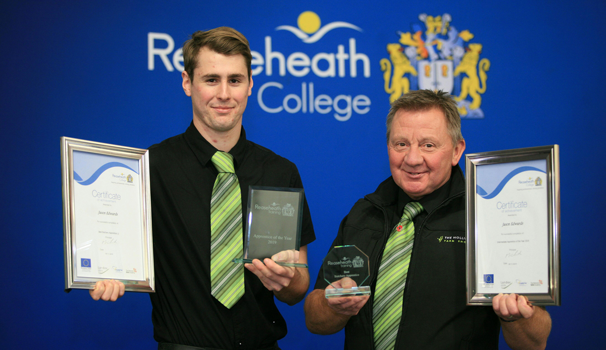 Best Intermediate Apprentice, Jason Edwards, with Butchery Manager Kevin Haysted