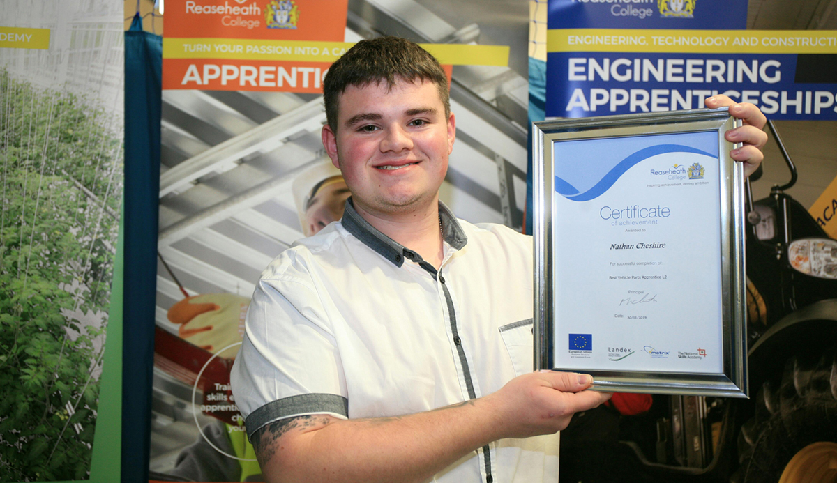 Best Vehicle Parts Apprentice, Nathan Cheshire