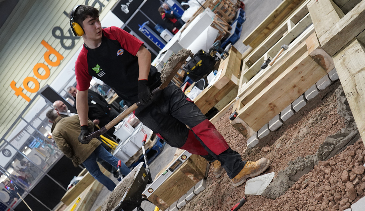 Eliot Johnson competing in Landscaping at WorldSkills