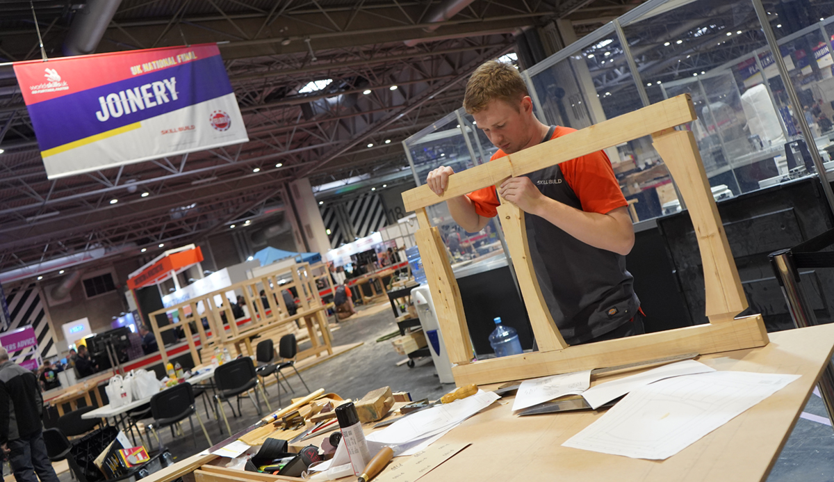 Harry Hiscoe-James competing in Joinery at WorldSkills