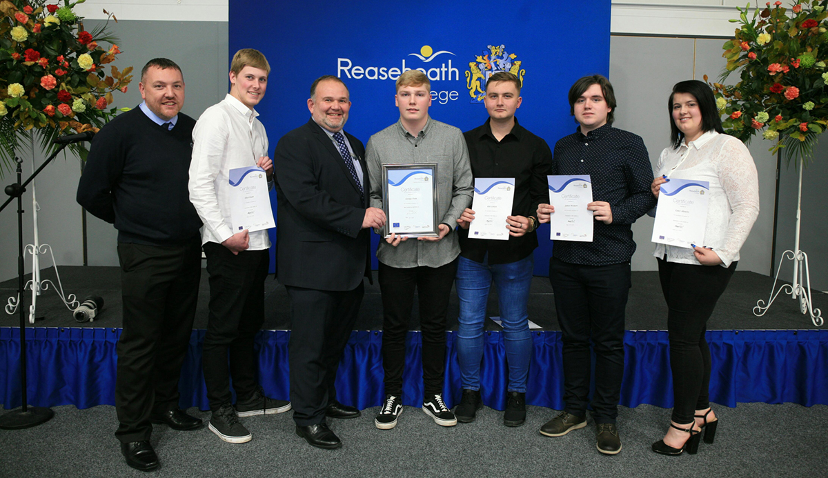 Jason Cheetham, Bombardier Training and Competence Assessor, with apprentices Elliot Heath, George Poole, Kyle Conlon, James Western and Casey Moseley