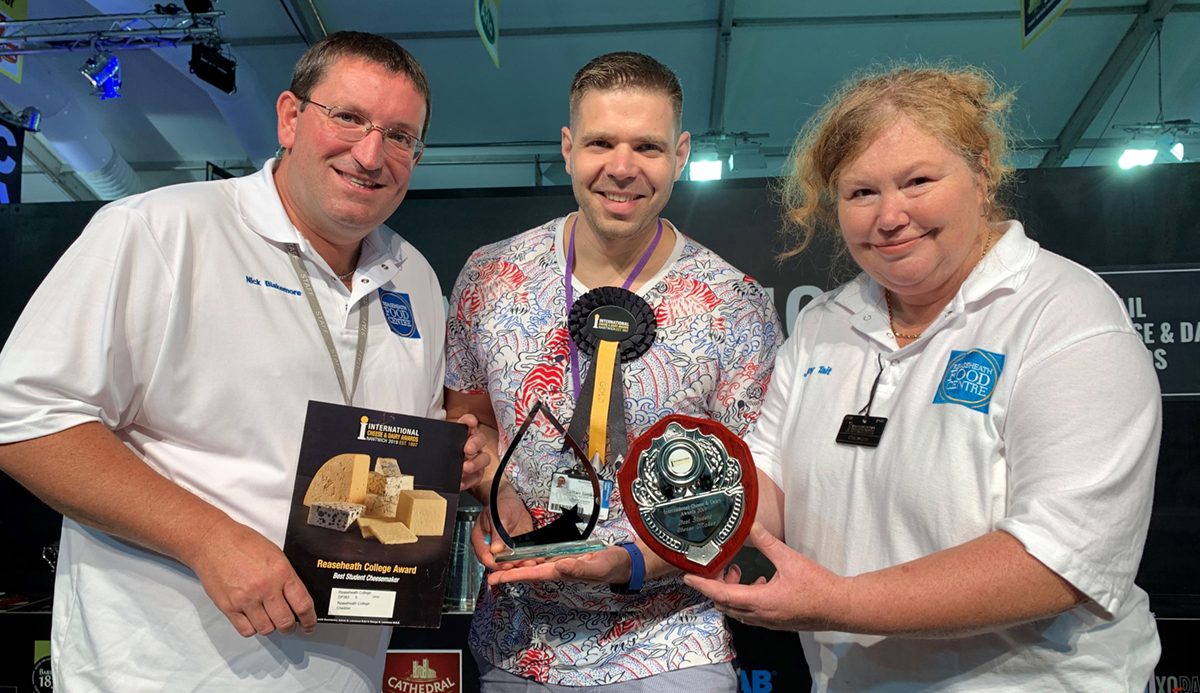 Nick Blakemore, Zoltan Simko, Jenny Tait, gold student cheesemaker